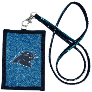 Carolina Panthers Beaded Lanyard Wallet