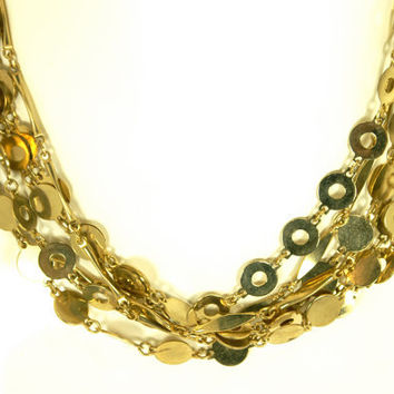 Vintage Triple strand Geometric Gold Tone Circle Link Necklace