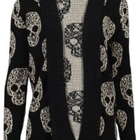67V New Womens Knitted Skull Metallic Ladies Long Sleeved Cardigan:Amazon:Clothing