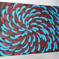 Turquoise and Red Aboriginal Inspired Painting by Acires on Etsy