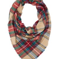 Combo Plaid Blanket Scarf by Charlotte Russe
