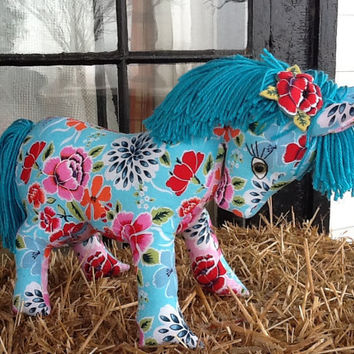 SALE- TAKE 15% OFF Plush Toy Pony, Aqua Blue with Red Poppy Hairclip