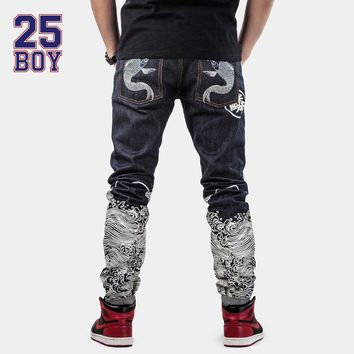 25BOY CARPTOWN Embroidery Pants with Print Trendy Selvedge Denim Streetwear Chinese style Premium Craft Jeans