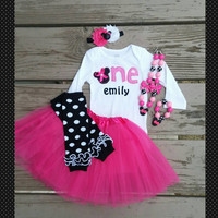Pink And Black Minnie Mouse First Birthday Girl Outfit - First Birthday - Second Birthday - Tutu - Necklace - Personalized  - Birthday Girl