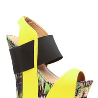 Yellow Abstract Print Faux Nubuck Open Toe Wedges