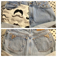 High Waist Studded Mustache Shorts