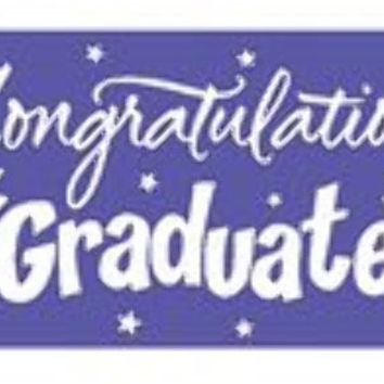 graduation greeting giant banner - purple Case of 12