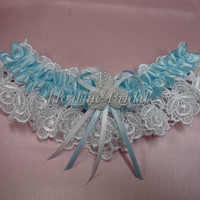 Light blue garter, bridal garter, wedding garter