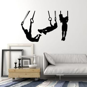Vinyl Wall Decal Silhouette Gymnasts Gymnastics Rings Sports Decor Art Stickers Mural (ig5391)