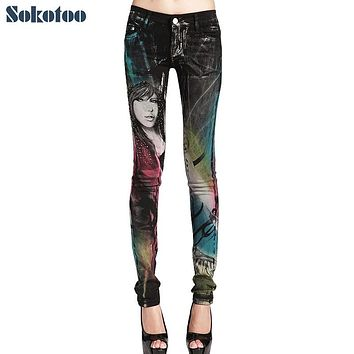 Sokotoo Women's fashion colored beauty printed jeans Lady's rhinestone painted stretch denim pants Long trousers