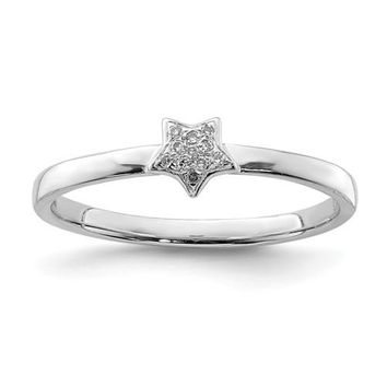 Sterling Silver and Genuine Diamond Star Stackable Ring