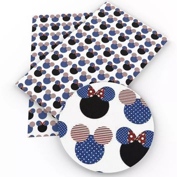 Red white & blue Mickey Mouse 4th of July faux leather vinyl fabric sheet