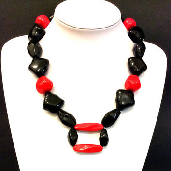 Black and Red necklace, Acrylic bead necklace,  black silk cord necklace, statement necklace, jewelry, women's gift