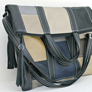 Leather Fold Over Purse, leather tote, leather cross body bag, geometric handmade leather purse, black leather purse, patchwork leather tote