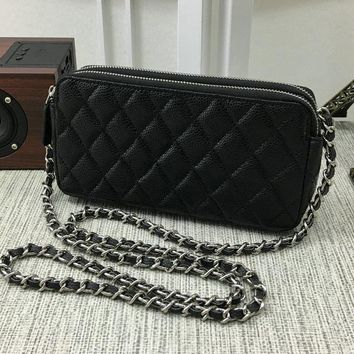 Luxury C brand women balck mini shoulder bag lambskin grained leather Diamond Lattice packages zipper chain crossbody phone bag gold silver hw