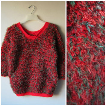 Ugly Christmas Sweater! Red & Green Kitschy, Tacky Festive Holiday Sweater! Hipster Style Fuzzy Knit Party Sweater!