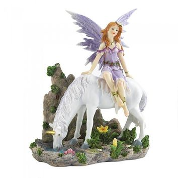 Lavender Fairy & Unicorn Figurine