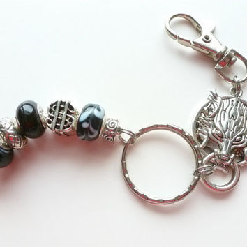 Wolf Keyring, Black White Silver Keychain, European Beads,Guy Gift, Unisex Accessory