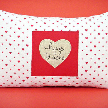Valentine Pillow Hearts Hugs Kisses Red White Decorative Repurposed