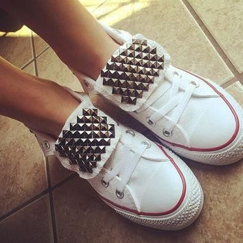 Custom Studded White Converse All Star High Tops Chuck Taylors ALL SIZES & COLORS! Wed