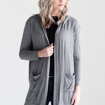 Dark Heather Gray DLMN Hooded Cardigan
