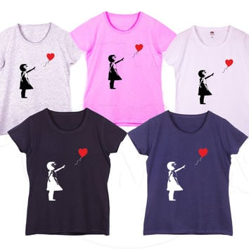 """Girl with heart balloon"" famous Banksy graffiti Fashion Geek Humour Gift Ladies Tshirt"