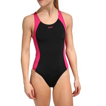 Sporti Polyester Solid Piped Splice Wide Strap Swimsuit at SwimOutlet.com