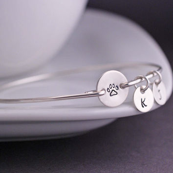 Silver Personalized Pet Memorial Jewelry Paw Print Bracelet Spring Summer Inspirational Jewelry free shipping YPQ0522