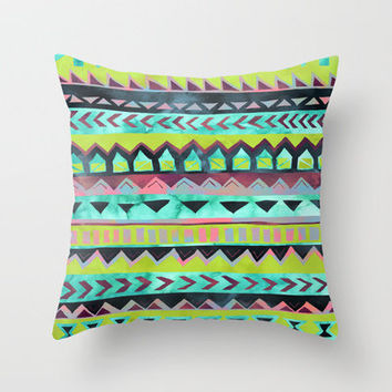 PATTERN {Tribal Stripe - Green} Throw Pillow by Schatzi Brown | Society6