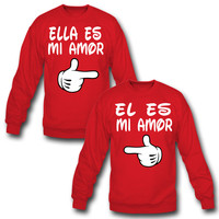 ELLA ES MI AMOR EL ES MI AMOR COUPLE SWEATSHIRT MATCHING COUPLE SWEATSHIRT