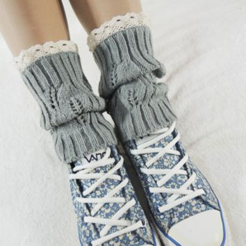 Brief paragraph flanging diamond hollow lace leg warmers boots set of knitting socks
