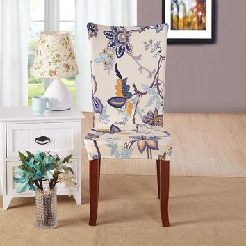 1Pc Spandex Elastic Floral Print Pattern Stretch Removable Chair Cover Dining Party Hotel Banquet Chair Seat Cover Slipcovers