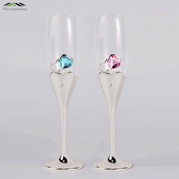 Silver plated glass flutes with Heart Diamond shaped