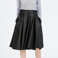 PU Faux Leather A-line Midi Women Autumn Solid Mid-calf Pleated Skirt With Pockets  Skirts