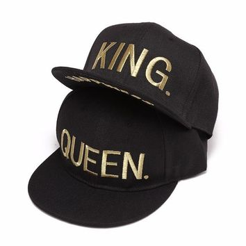 King Queen Lovers Embroidery Snapback Hats Men Women Cotton 5 Panles Adjustable