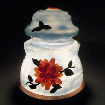 Glass Insulator Lamp, Night Light - Blue with Yellow Flowers