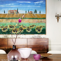 Large painting of Tuscany 48x64 Sunflowers art Modern Landscape Original extra large bedroom decor hanging on wall unstretched canvas 60 64