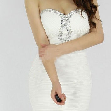 White Beaded Strapless Ruched Bodycon Mini Dress