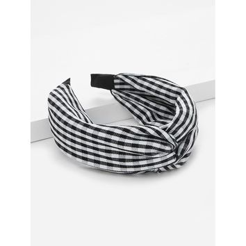 Plaid Twist Headband Black and White