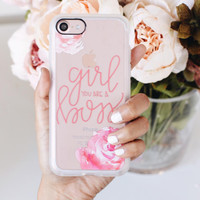 Floral iPhone 7 & 7 Plus Case (Girl You Are A Boss Pattern) by Casetify