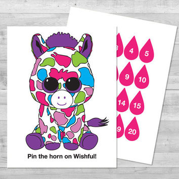Pin the Horn on Wishful Game | Digital File | 8.5x11 Beanie Boo Game | Printable PDF