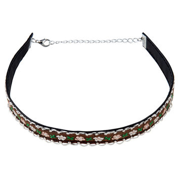 Brown Floral Embroidered Choker Necklace