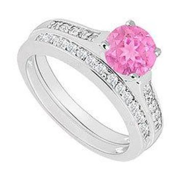 14K White Gold : Pink Sapphire and Diamond Engagement Ring with Wedding Band Set 0.75 CT TGW