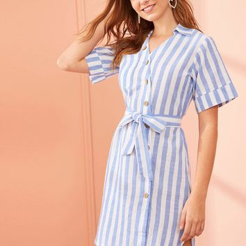 Vertical Striped Button Front Self Tie Dress