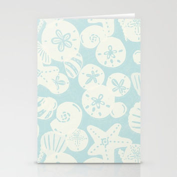 Cream Seashells on Aqua Stationery Cards by Noonday Design