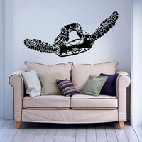 Sea Turtle Wall Decal- Turtle Wall Decal Tortoise Tortoiseshell Sea Ocean Animal Wall Decals- Living Room Bedroom Bathroom Home Decor 0051