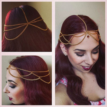 Scalloped Gold Plated Head Chain with a Glass Bead Centerpiece * Weddings * Festivals * Renaissance * Gypsy * Tribal * Gypsy * Romantic *