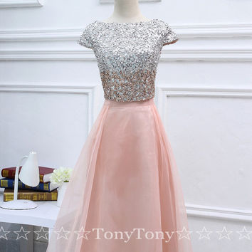 2 Piece Sequins Prom Dresses with Cap Sleeves,Sequins Bridesmaid Dresses on Wedding Party