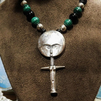 Vintage African Fertility Necklace Malachite Black Onyx Sterling Silver Beads BOHO Ashanti Akuaba Fertility Goddess Tribal Jewelry Silk Cord