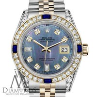 Rolex SS & Gold 36mm Datejust Watch Tahitian MOP Dial with Sapphire & Diamond